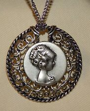 Handsome Raised Beaded Picot Rim Curly Haired Lady Round Pendant Necklace
