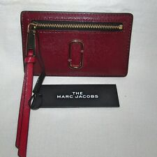 New The Marc Jacobs Snapshort Card Holder Wristlet Coin Wallet Red Burgundy Gold