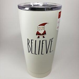 "Rae Dunn • BELIEVE Red Santa Stainless Steel TUMBLER • 17oz Christmas • ""NEW"""