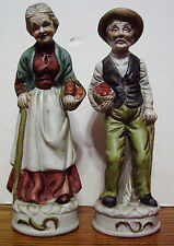 PORCELAIN FIGURINE OLD COUPLE WITH FRUIT BASKETS
