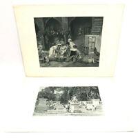 Lot of 2 1890 Marcus Simons PHOTOGRAVURE Prints The Young Lulli Violin Canova