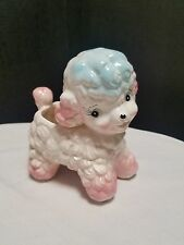 Vtg Baby Lamb Planter Pink w blue Samson Imports  1961 # 5116 A