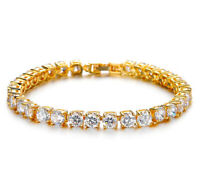 18k Yellow Gold Women's 5mm Link Chain ElegantCZ Tennis Bracelet w GiftPkg D695
