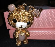 Brown Crystals Gift Box Bag Betsey Johnson Necklace Teddy Bear Gold