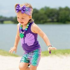 Toddler Kids Baby Girls Mermaid Vest Tops+Shorts+Headband Outfits Clothes Set