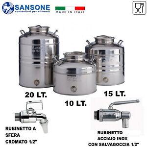 FUSTO BIDONE OLIO SANSONE 15 LT. AGGRAFFATO ACCIAIO INOX CON PREDISPOSIZIONE