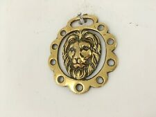 More details for vintage lion head horse brass wall hanging
