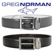 New 2018 Season Greg Norman Reversible Leather Belt Metal Buckle