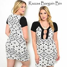 New Ladies Sexy Geometric Print Dress Plus Size 16 3XL (9956)NP