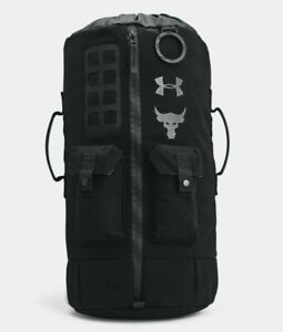 UA Under Armour Project Rock 60 BLACK BAG Military Duffel Backpack New 27L NWT