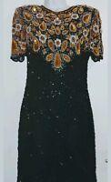 Vtg Laurence Kazar Black Gold, Silk Beaded Sequin Cocktail  Dress MP