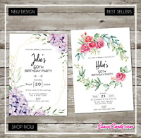 Birthday Invitations • Personalised Party Invites• 18th 21st 30th 40th 50th 60th