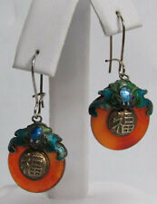RARE ANTIQUE CHINESE MADE SILVER & RED JADE ENAMEL EARRINGS