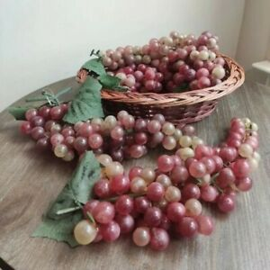 Vintage Artificial Decorative Fake Fruit Grapes  in a Brown Woven Wicker Basket