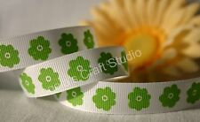 "1 Metre GREEN / WHITE FLOWER 16mm (5/8"") Grosgrain Ribbon - Hair Bow Sew Trim"