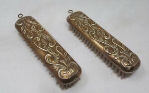 Antique Wood & Brass Art Nouveau Clothes Brushes 17 cms Length
