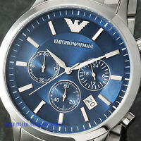 Emporio Armαni AR2448 Watch GENUINE Quartz Men's Steel Blue Dial 5 Year Warranty