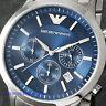 Emporio Armαni AR2448 Watch GENUINE Quartz Men's Steel Blue Dial 5 Year Warranty