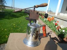 Antique Vtg Brass/Chrome Blow Torch W/EUREKA 1/2 Soldering Iron Old Welding Tool