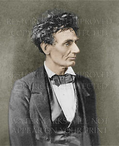 Abraham Lincoln age 48, portrait by Hesler 1857, 5x7 color print or request CD