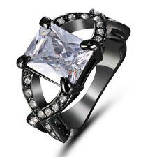 Size 6 Solitaire 10KT Black Gold Filled White Topaz Gemstones Cross Wedding Ring