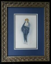 Antique Art Deco Lady Watercolour Illustration Framed Painting Signed 1921