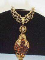 "Beautiful 3"" Amber Molded Glass Grape Cluster Filigree Brooch"