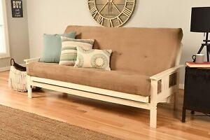 Antique White Finish Victoria Futon Frame Suede Mattress Sofa Bed Set (Beige)