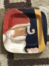 "Zrike Jolly St Nick Cake Plate 15.5"" Old World Santa Christmas Italy AA167"