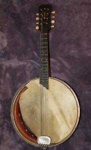 Antique Slingerland Banjo Mandolin 8 String Instrument Banjolin Inlay AS IS