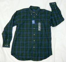 Izod men's flannel green plaid button front shirt long sleeve size M 100% cotton