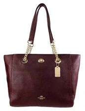 COACH 57107  Turnlock  Chain Oxblood Pebbled Leather SM Tote Bag Msrp $295.