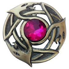 Scottish Celtic Serpent Kilt Fly Plaid Brooch Fuchsia Stone Antique Pin Brooches
