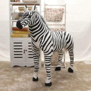 Soft Stuffed Plush Animal Pillow Realistic Zebra for Children's Birthday Gift