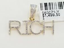 Yellow Gold Diamonds Rich Sign Charm Pendent Name Plate Unisex Alphabet Letter