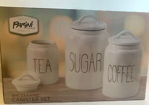 Parini Canister Set White Black Ceramic 3 Piece Sugar Tea Coffee (1)
