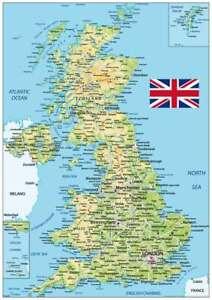 UK Map Great Britain United Kingdom Art Print Poster A2 59cm x 42cm BLPA2P24