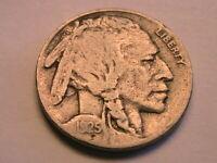 1925-S Buffalo Nickel Ch Fine+ Nice (F+) Grey Original Indian Head 5C USA Coin