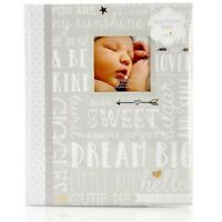 MY BABY FIRST MEMORIES BOOK - LIL PEACH GIRLS DREAM GREY - KEEPSAKE RECORD ALBUM