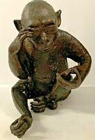 Vintage Large Darwin Chimpanzee Monkey Bronze Sculpture Reading Wearing Glasses