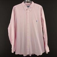Mens Polo Ralph Lauren Classic Fit Pink Striped Dress Shirt Size 2XB XXL Big