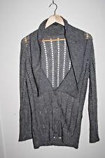 Woolly Designer Woman's Long Sleeve Top Grey Wool Blend Cardigan Hip Length M