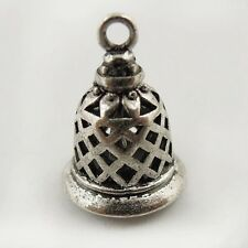 2pcs Antique Style Silver Tone Brass Bell Pendant Charms 14mm