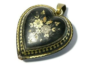 Antique Pique Heart Shaped Pendant with Inlaid Gold & Silver Floral Pattern a/f