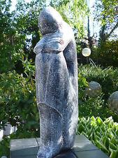 """Garten Skulptur """"Die Denkerin"""" abstrakte Frau Steinguss 47cm Frostfest Patiniert"""