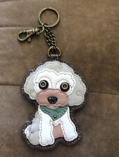 Chala Poodle Puppy Dog Key Chain Coin Purse Leather Bag Fob Charm New