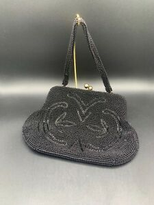 Vintage Black Seed Bead Evening Bag Bags By Josef Perfect Condition