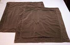 Hawthorne Hill Brown Velvet Euro Pillow Shams Pair Neutral 26 x 26 EUC