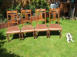 set of 4 Edwardian oak dining chairs