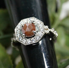 1.35 cts natural Red round Rose cut diamond Ring, sterling silver Wedding Ring